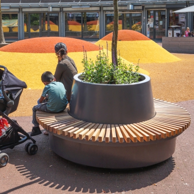 Green Circular Benches
